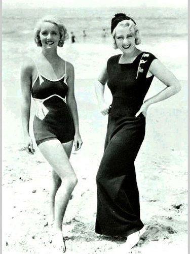 e9bbbd414f Bette Davis   Joan Blondell modeling on the beach in 1932.