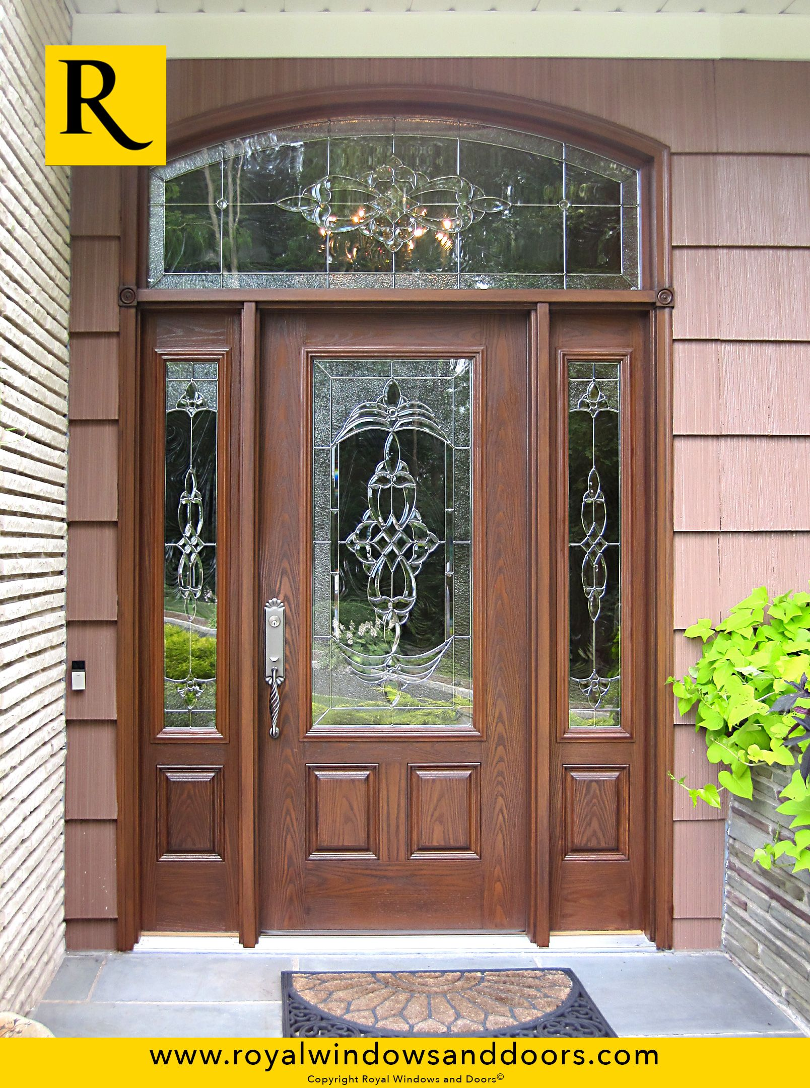 Single entry door wood finish two side lites transom for Single entry door with glass