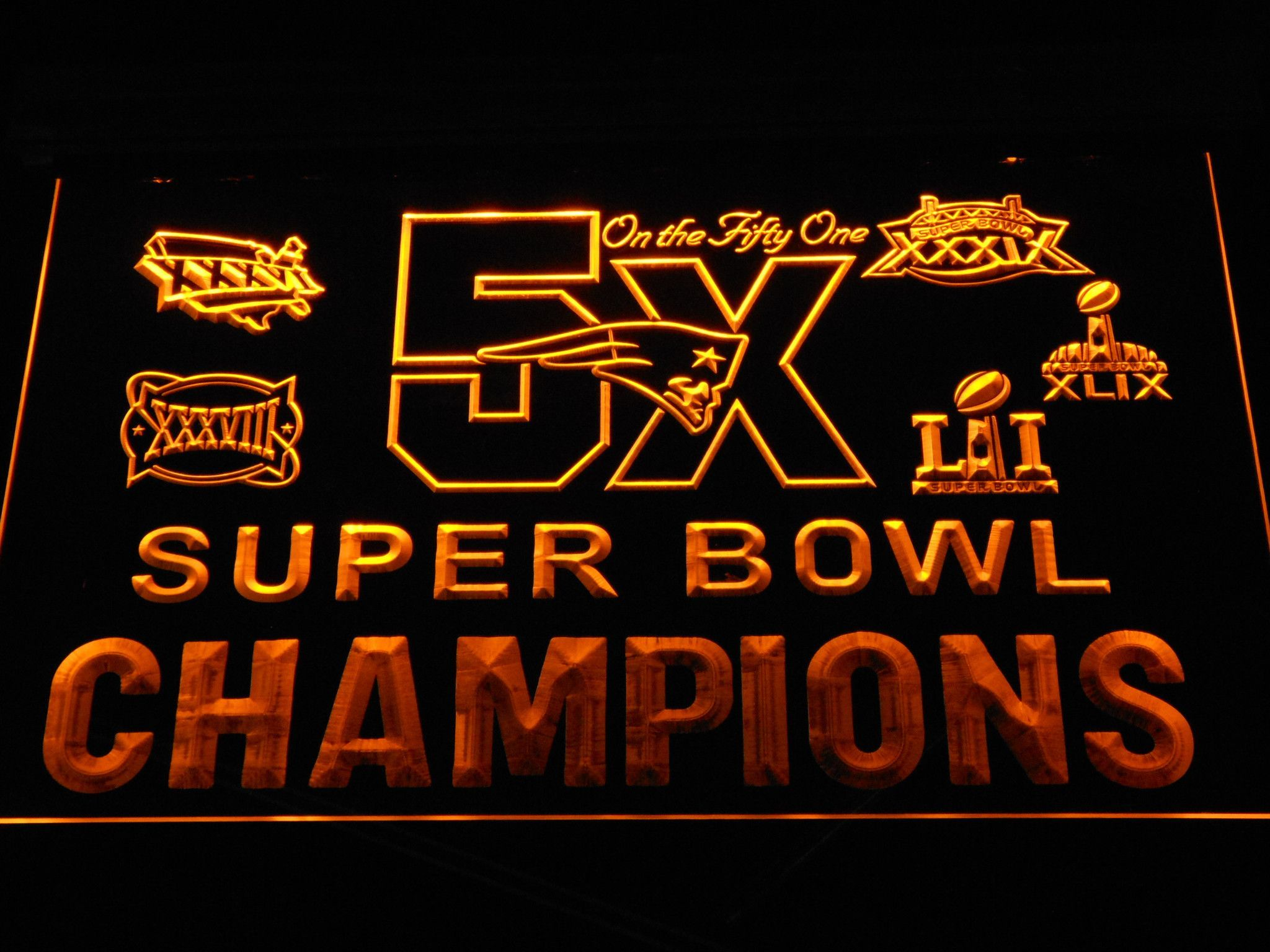 New England Patriots 5X Super Bowl Champions Logos LED Neon Sign