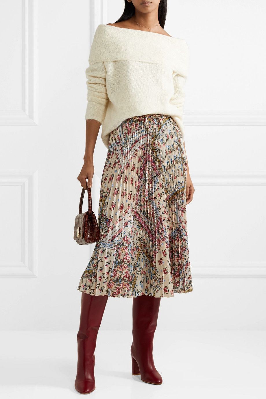 03b20b9324 REDVALENTINO Pleated floral-print crepe midi skirt$950   Modern ...