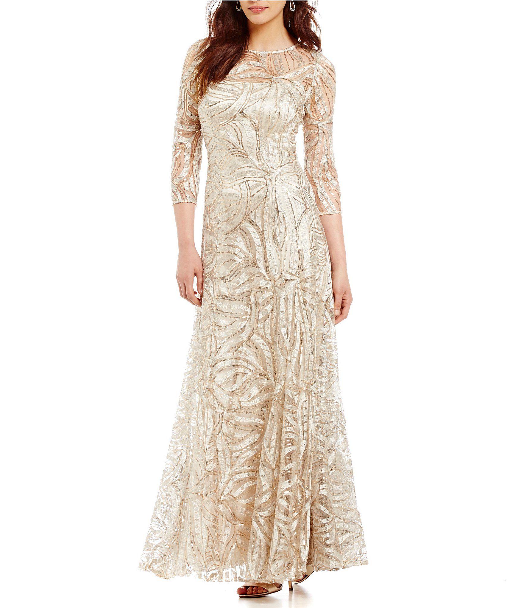 Tahari Asl Embroidered A Line Gown Dillard S In 2021 Dillards Wedding Dresses Dillards Dress Red Wedding Dresses [ 2040 x 1760 Pixel ]