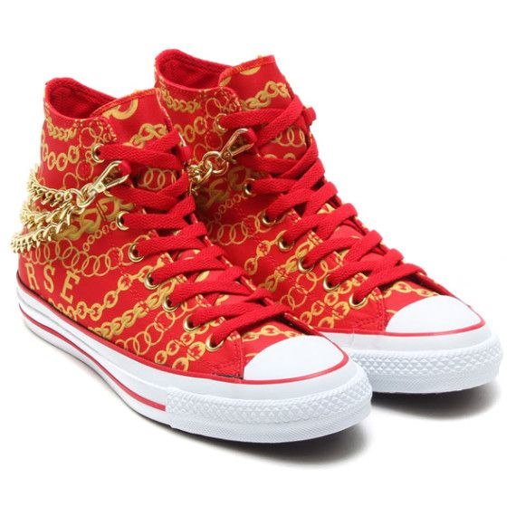 Red Converse High Tops Gold Chains Chuck Taylor All Star