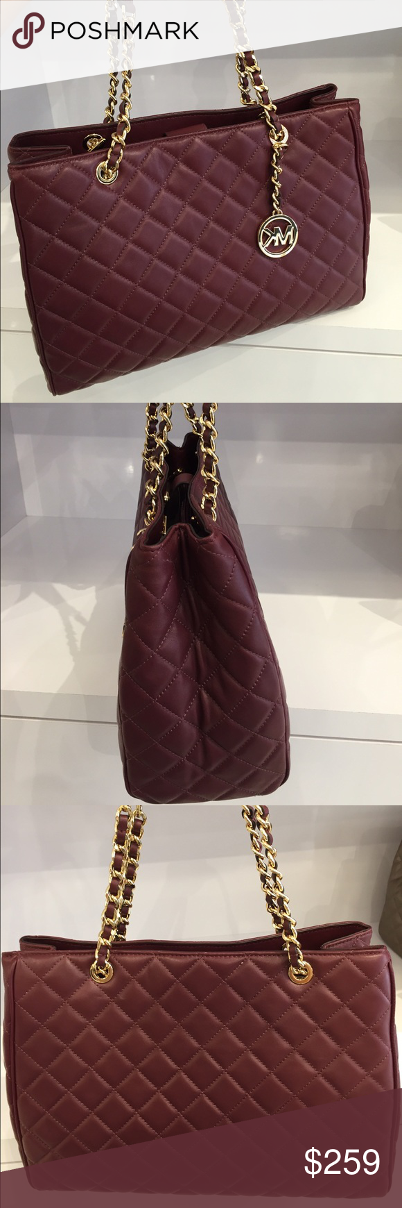 ffbaf2d57bed Michael Kors Susannah Quilted Leather Large Tote Michael Kors Susannah  Quilted Leather Large Tote Burgundy Carry
