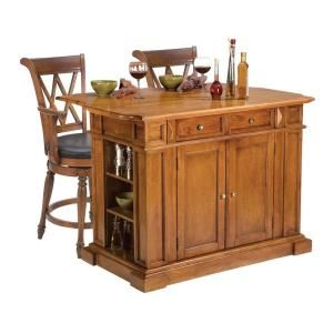 Home Styles Traditions Distressed Oak Drop Leaf Kitchen Island With Seating Discontinued 5004 949 The Depot