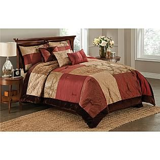 Red And Gold Comforters King Essential Home 6 Piece Red Brown San Marco Comforter Set Burgundy Bedroom Comforter Sets Queen Comforter Sets