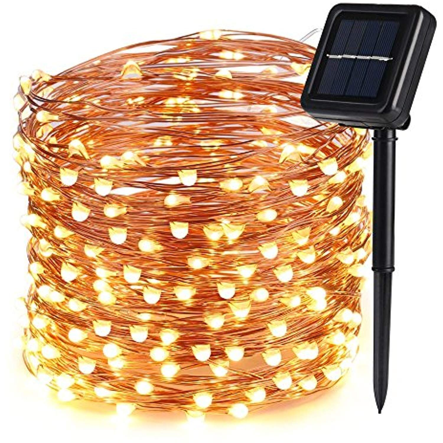 Icicle Solar Fairy String Lights, 66ft 200 LED Flexible Copper Wire ...
