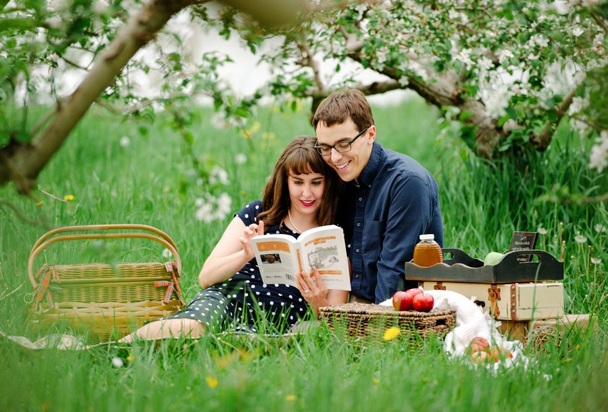 honeybee picnic engagement picture