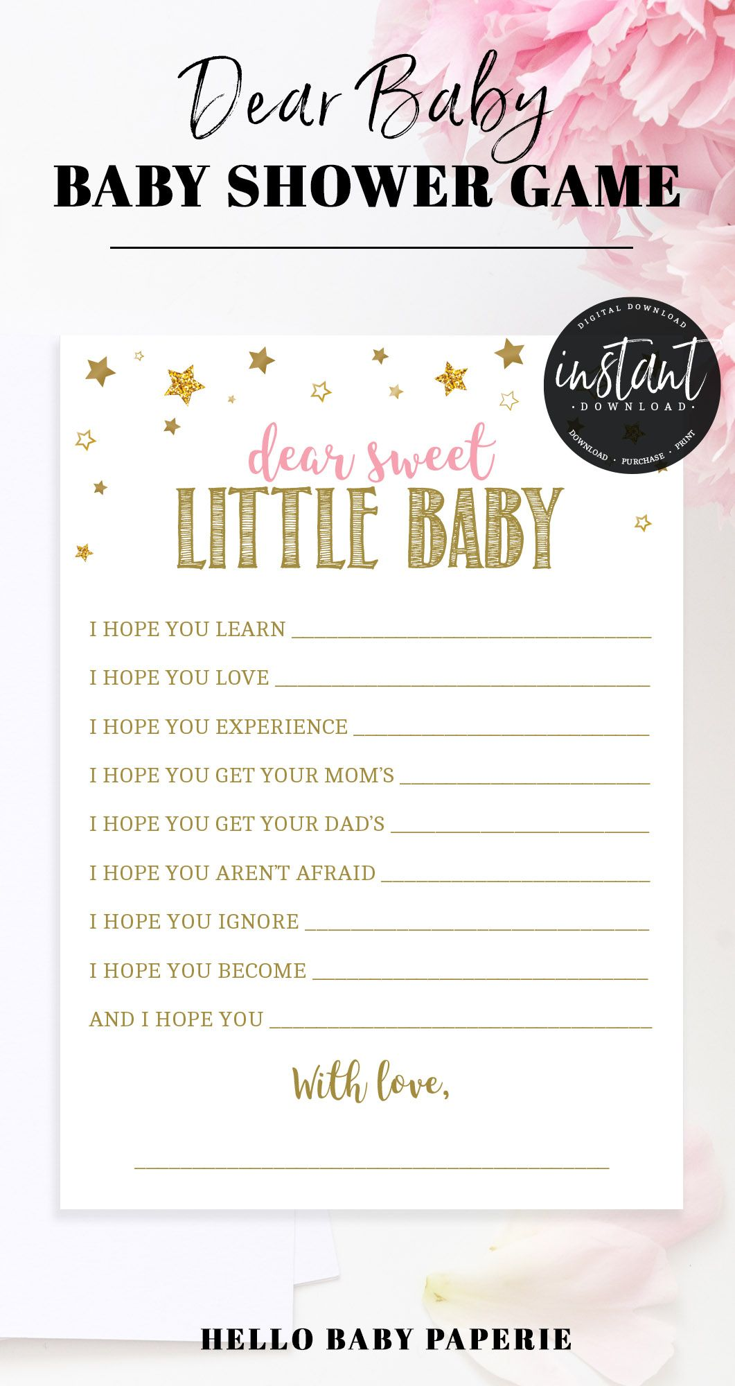Wishes for Baby, Baby Shower Games, Baby Shower Girl, Pink