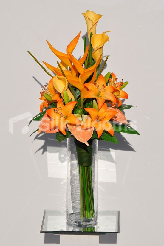 Artificial Yellow Oriental Lily And Leaf Arrangement W Bamboo And