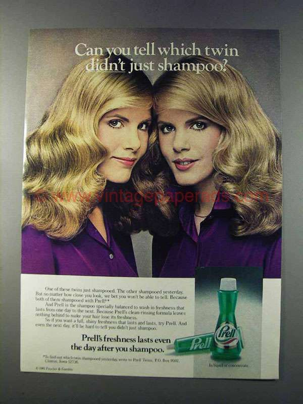 1981 Prell Shampoo Ad Which Twin Didnt Just Shampoo Vintage