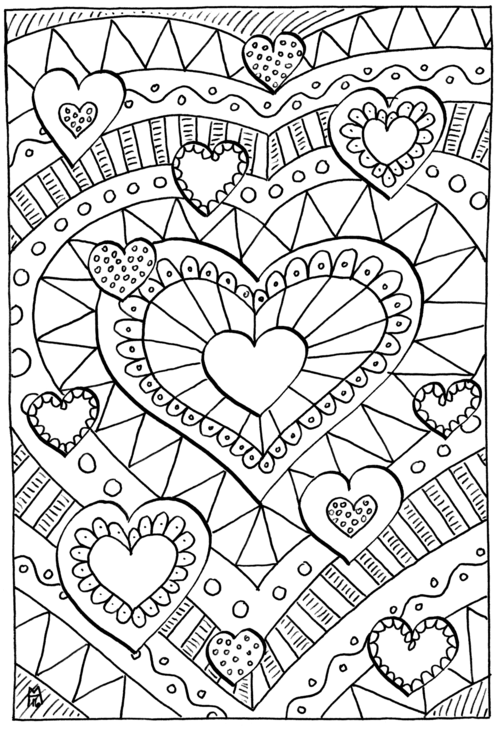 Healing Hearts Coloring Page Free Adult Coloring Book Pages
