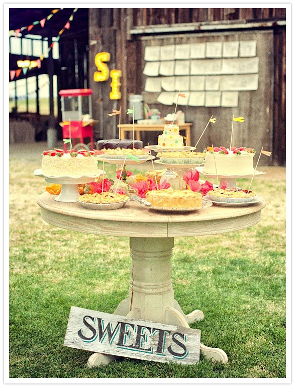Cute wedding reception desert table