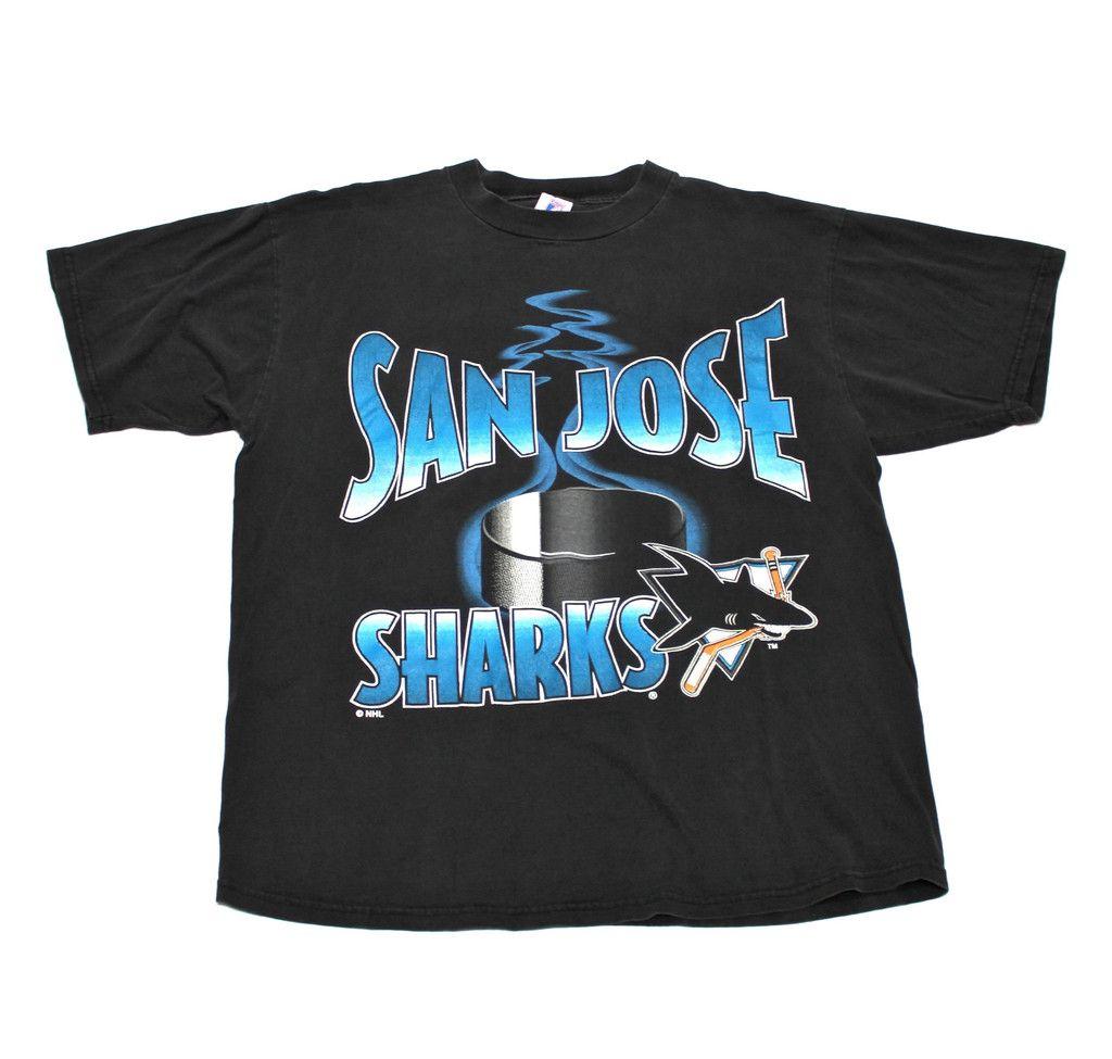 size 40 f7bf0 4168b Vintage 90s Logo 7 Faded Black San Jose Sharks Shirt Mens ...