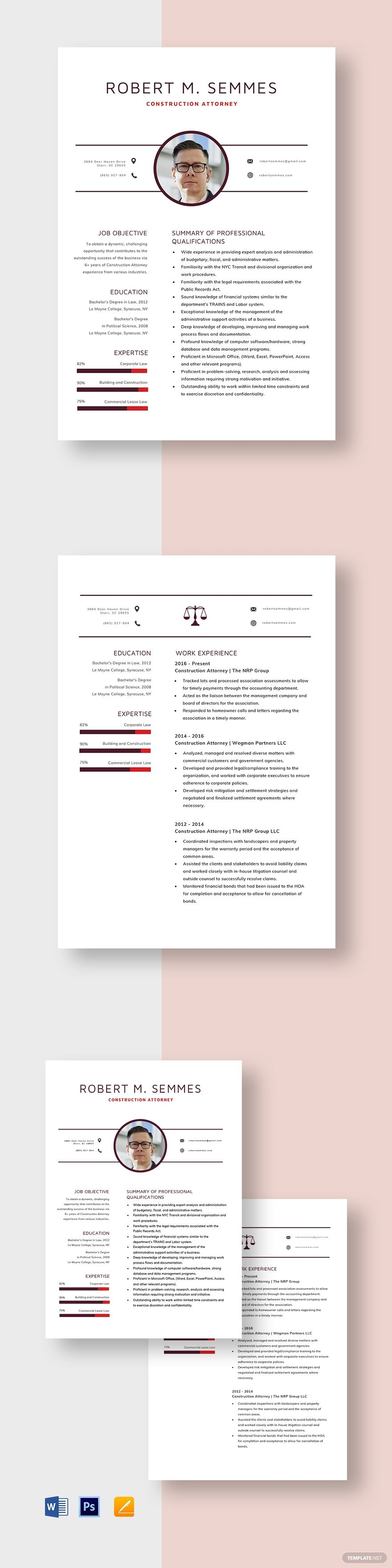 Construction Attorney Resume Template AD, , paid,
