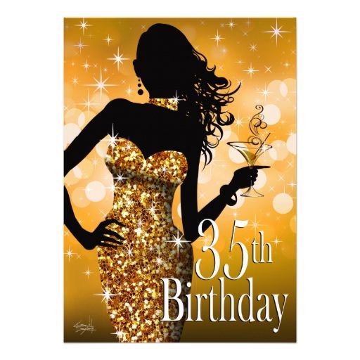 Bring the bling sparkle 35th birthday gold invitation things i bring the bling sparkle 35th birthday gold personalized announcements filmwisefo
