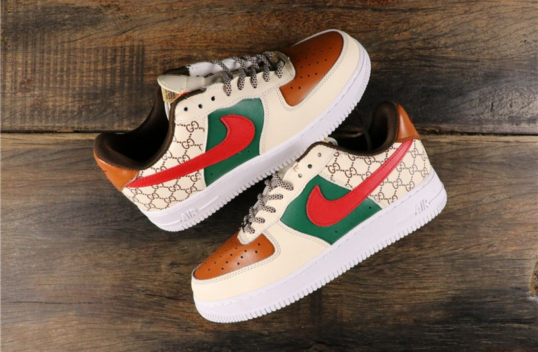 Nike Air Force 1 Low Gucci GG Custom Green Red Brown in