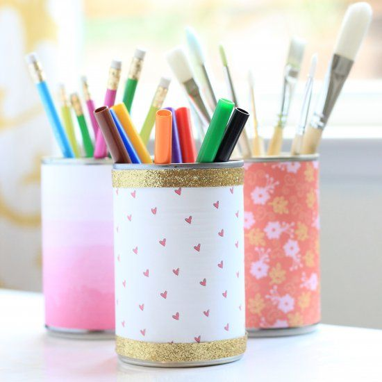 Easy upcycled tin cans- use these to organize craft and school supplies. They also make a perfect simple vase for flowers.
