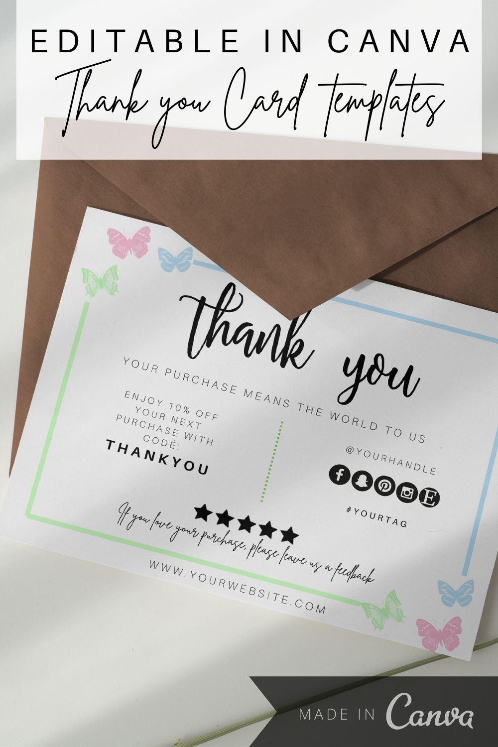 Butterfly Thank You Business Card Template Instant Download Etsy In 2020 Business Thank You Cards Cute Thank You Cards Thank You Card Template