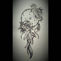 Photo of Image result for rose with dream catchers tattoos