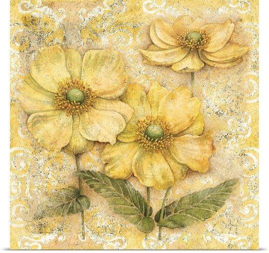 Serene Garden Yellow Floral In 2020 Orange Art Poster Prints Art