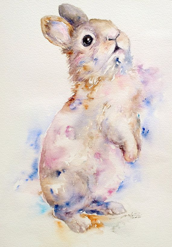 Bunny Lapin Mignon Original Peinture Aquarelle Wall Art