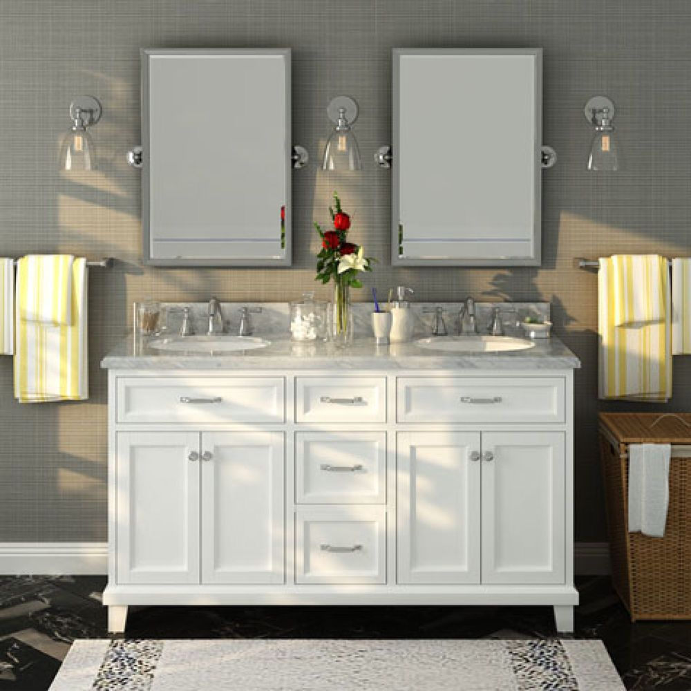 A large white vanity with double sinks