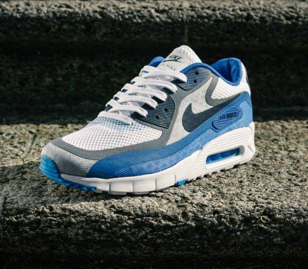 08a23d392be Nike Air Max 90 Breathe – White   Dark Obsidian – Cool Grey – Varsity Royal