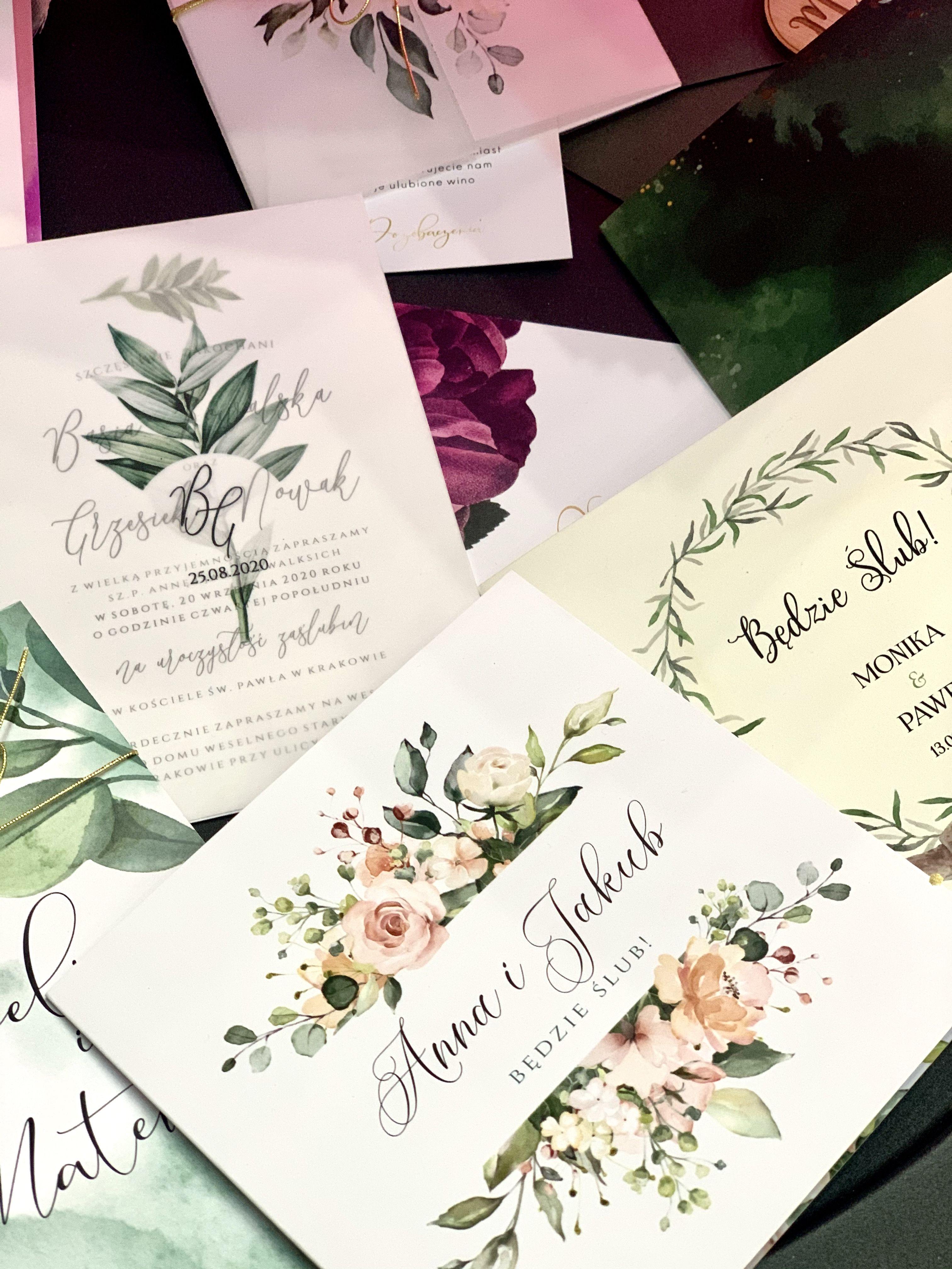 Papeteria Slubna Zaproszenia Boho Rustykalne Weselne Zaproszenia Liscie Zielone Greenery Kwiaty Roze Pudrowy Roz Eukaliptus Panna Mlo Facebook Sign Up