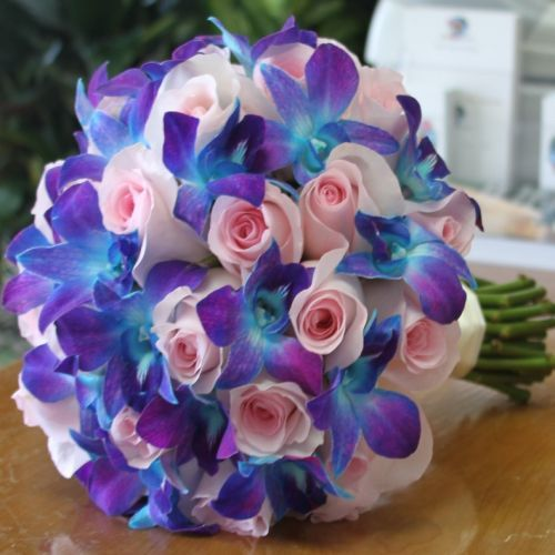Blue Orchid Pink Roses Bouquet Combination Of Blue Purple Dendrobium Orchids And Blu Pink Wedding Flowers Purple Wedding Flowers Wedding Flowers Blue Orchids