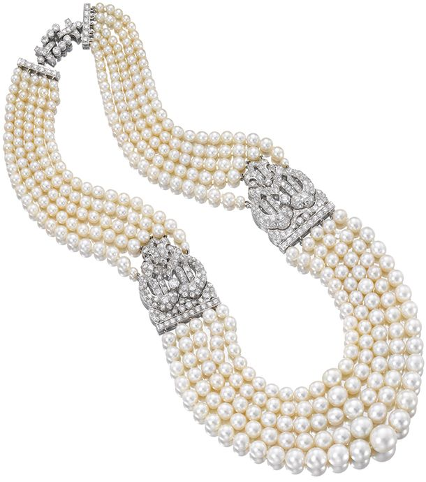 Necklace, natural pearls from the Gulf, with platinum and diamond clasps. Cartier. 1930s. The Qatar Museums Authority Collection