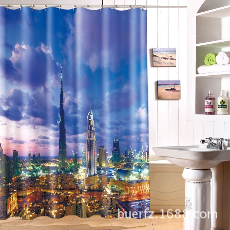 Sketch Panoramic Dubai View Shower Curtain Set By Red Barrel