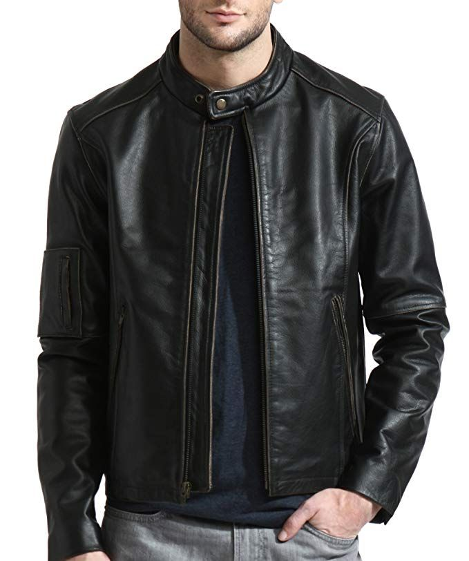 421140527 Tanners Avenue Men's Distressed Black Genuine Leather Moto Jacket ...