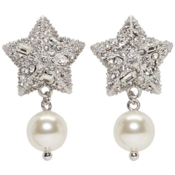 Silver Pearl and Crystal Star Long Earrings Miu Miu s5ZD8KxnX5
