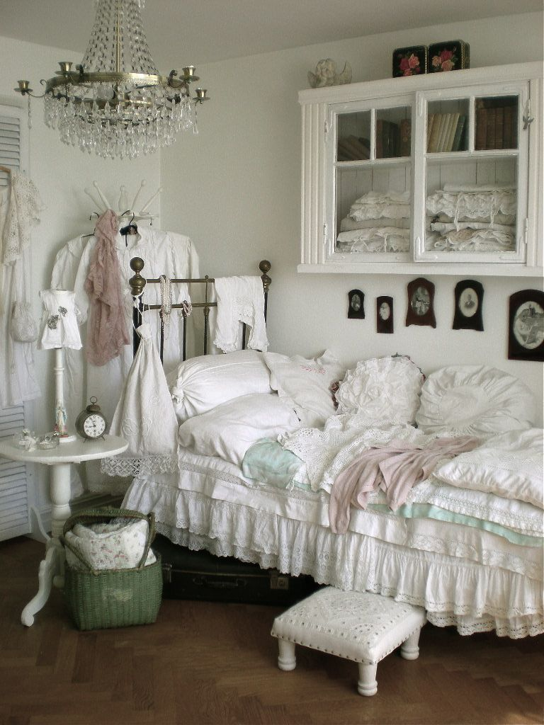 Bedroom Picture 1 of 3 Whitewashed Chippy Shabby Chic French Country Rustic Swedish decor idea. ***Pinned by oldattic ***.