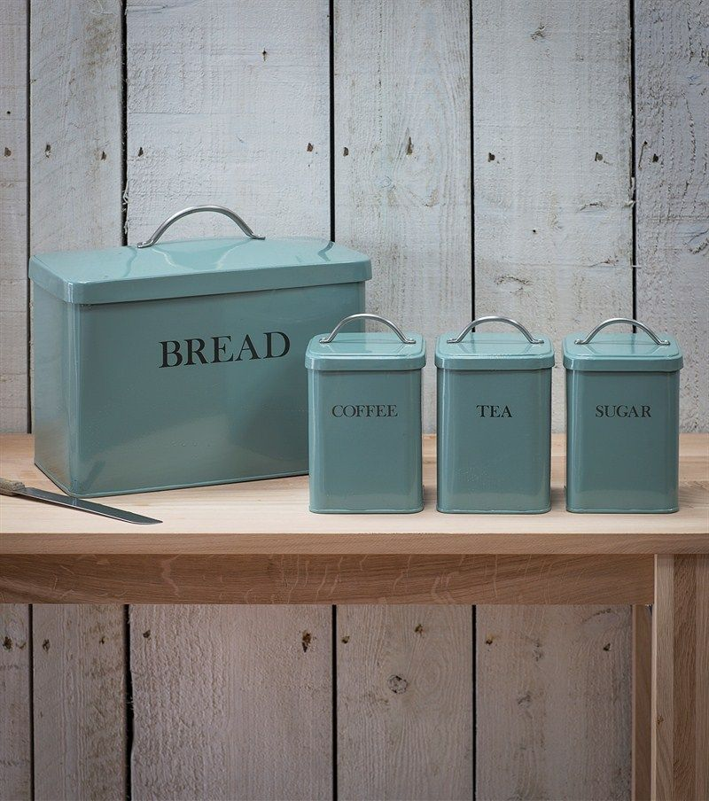 Bread Bin Set In Blue Breadbin With Tea Coffee Sugar Canisters