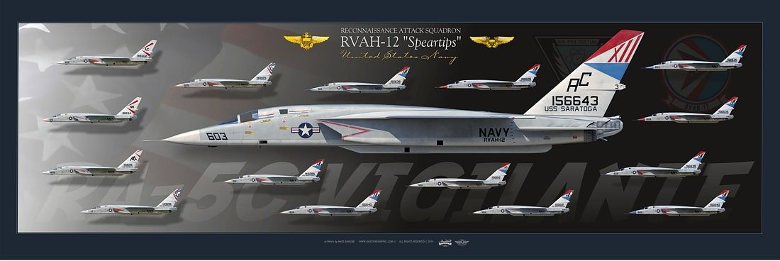 "UNITED STATES NAVYRECONNAISSANCE ATTACK SQUADRON (RVAH-12) ""Speartips""RA-5C ""Vigilante"" Collection"