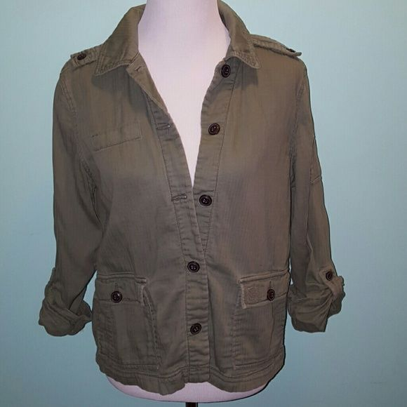 American eagle military style shirt Cute light olive green color, soft worn look, rolled up sleeve, can be used as shirt or light jacket, only worn few times American Eagle Outfitters Tops