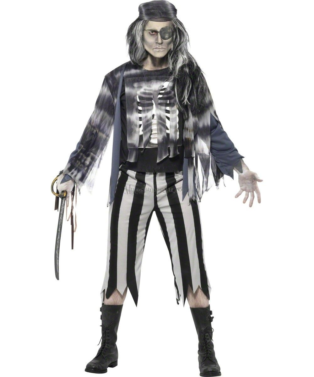 Ghostly Pirate Costume ~ Adult Mens ~ Halloween Zombie Alien