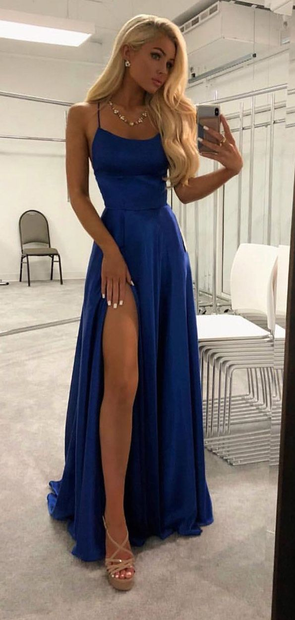 Dark Grey Spaghetti Strap Prom Dresses Open Back Long Prom Dresses with Slit,APD3230