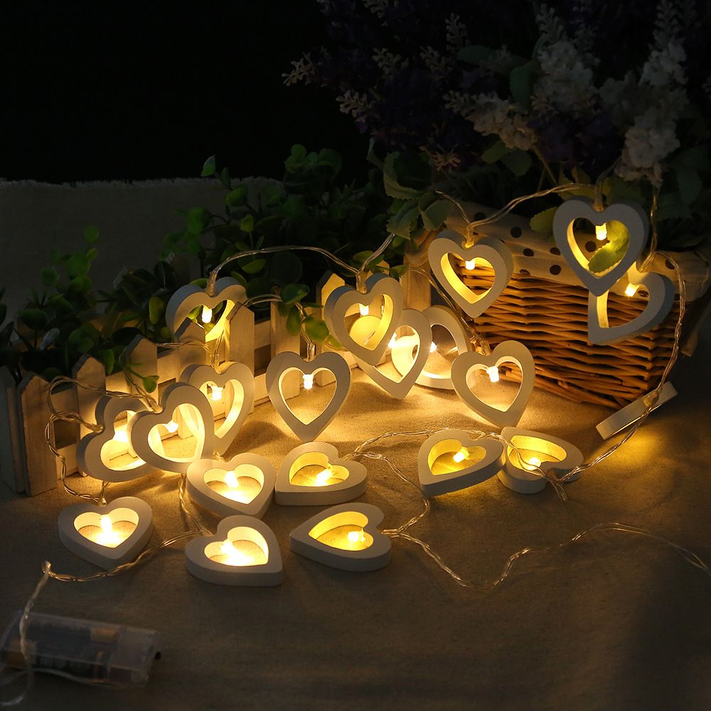 Wedding night decoration ideas   LED Warm Wooden Heart Shape String Fairy Lights For Christmas