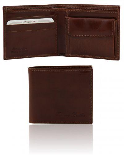 TL140761 Exclusive 2 fold leather wallet for men with coin pocket - Esclusivo portafoglio uomo in pelle 2 ante con portaspiccioli