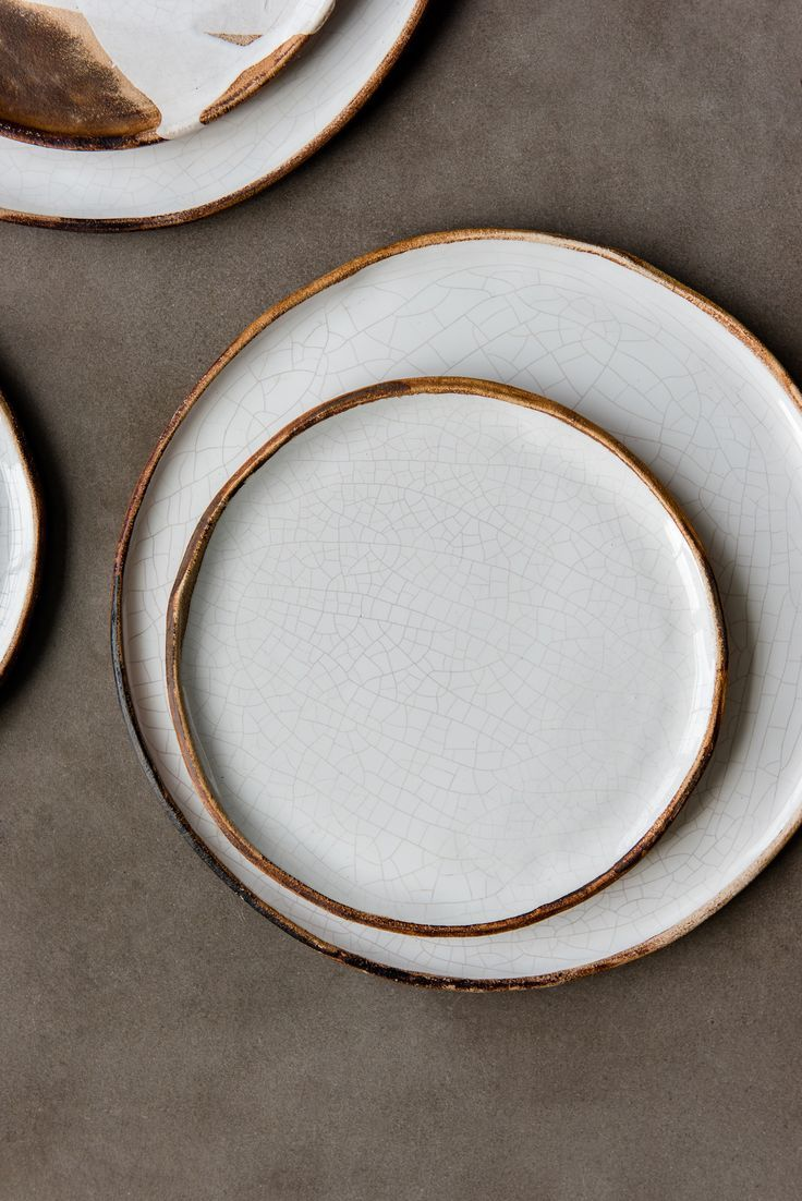 Handmade Stoneware Crackle Plates Modern And Restrained In Form Expressive And Rustic In Glaze Handmade Dinnerware Stoneware Dinnerware Sets Rustic Dinnerware