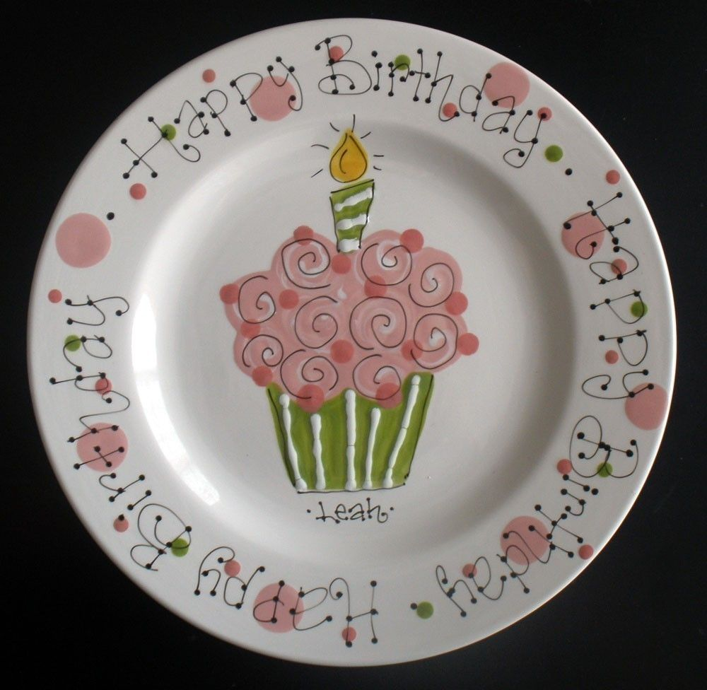 personalized birthday plate hand painted birthday plate pink and green colorful cupcake. Black Bedroom Furniture Sets. Home Design Ideas