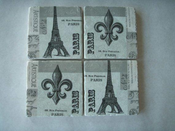 Paris Coasters by CreativeCoasterChick on Etsy, $19.00