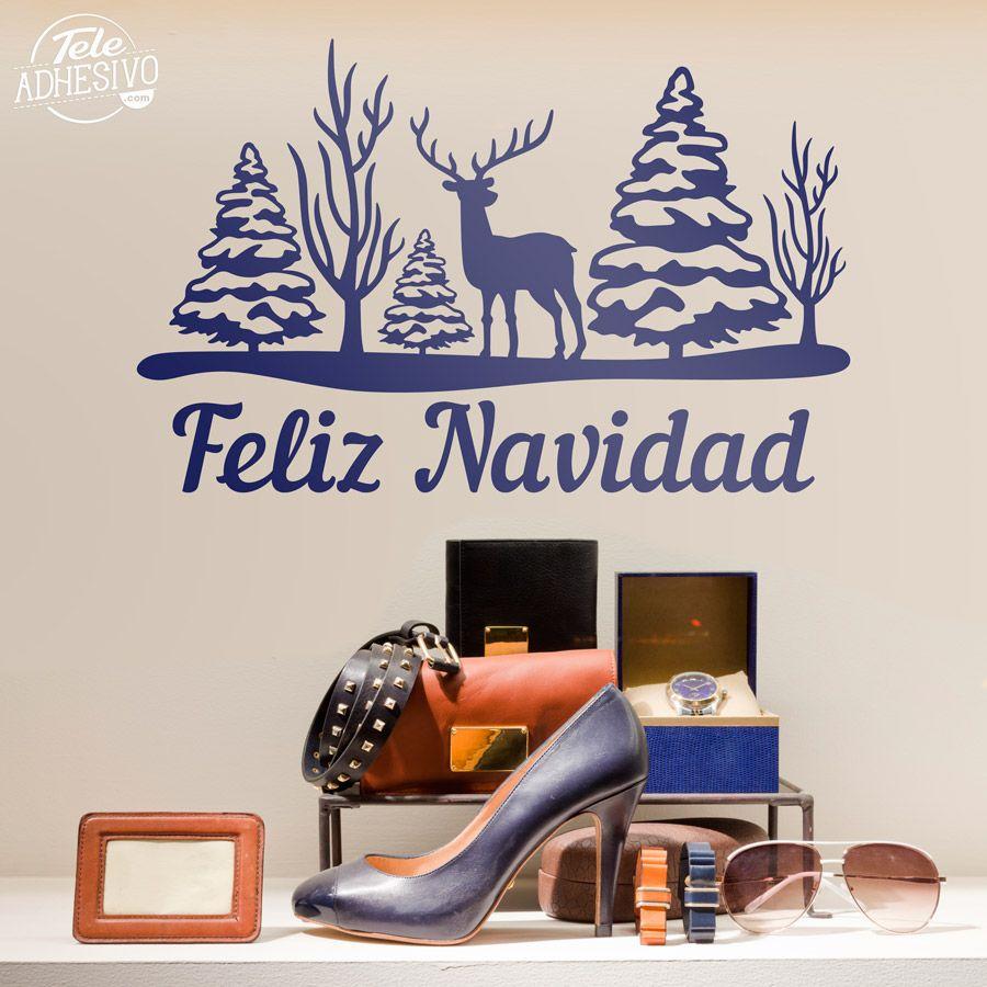 Vinilos decorativos rboles ciervo y feliz navidad escaparate decorar navidad vinilo - Teleadhesivo vinilos decorativos espana ...