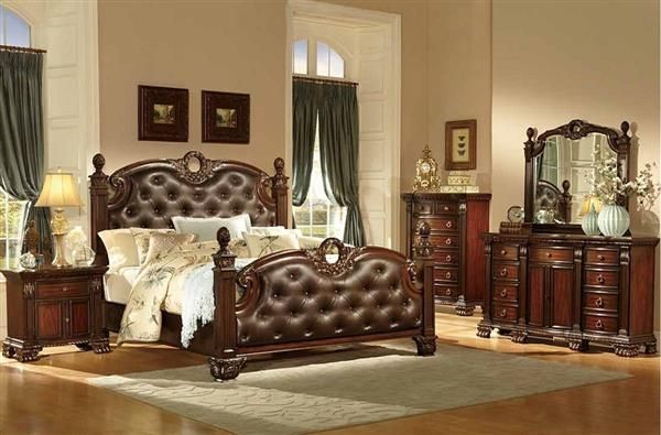 Orleans Traditional Rich Cherry Wood Bonded Leather Master Bedroom
