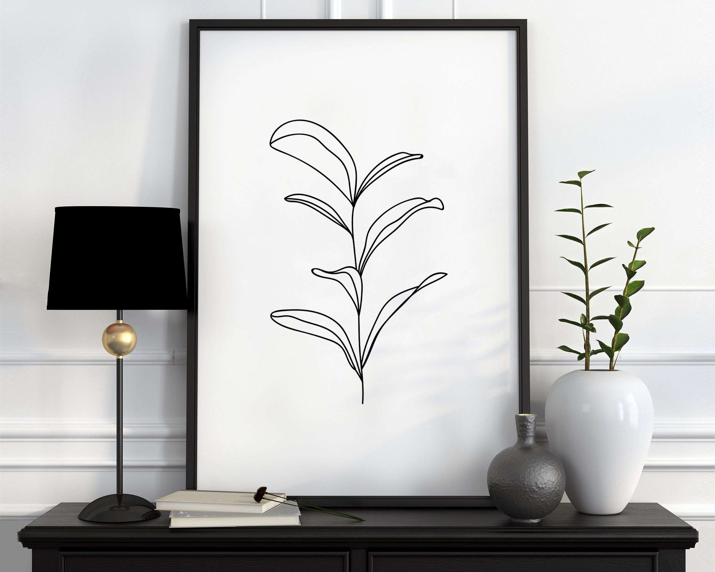 Botanic Wall Art, Abstract Leaves Print, Botanical Nordic Sketch, Minimalist Plant Art, Single Line Drawing, Modern Art Minimal Nature Print -   14 minimalist planting Art ideas