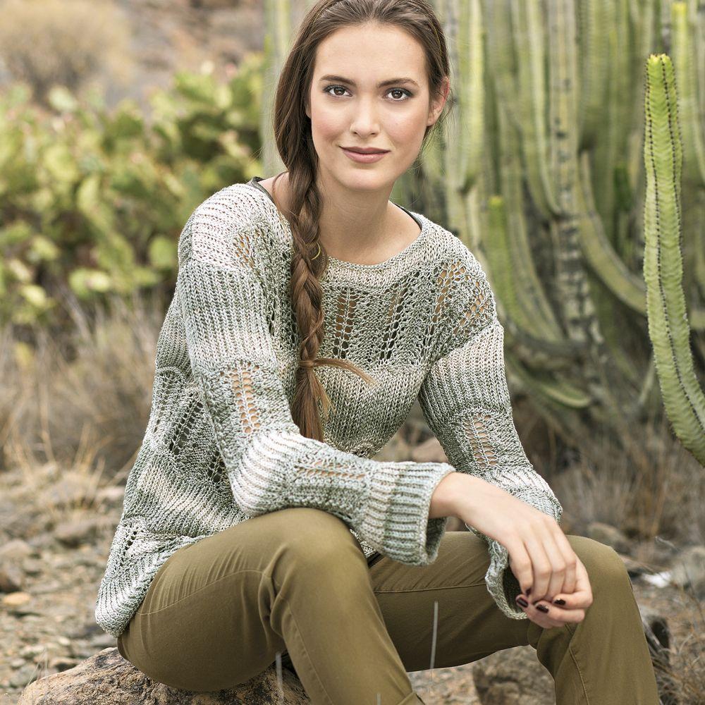 схема вязание пуловера с вытянутыми петлями