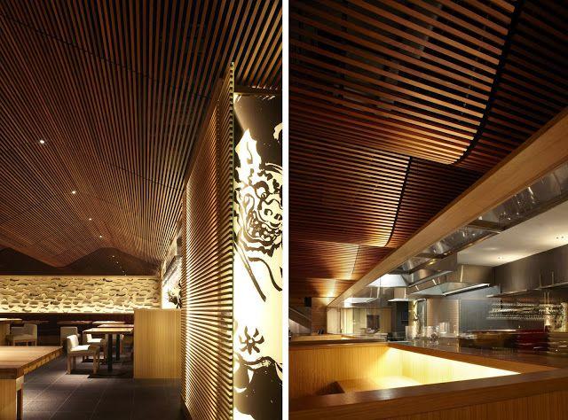 Espectacular techo de madera en el restaurante ippudo for Falso techo rustico