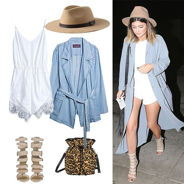 Get Kylie Jenner's boho festival look. A long kimono and white playsuit should do the trick. Steal her style from your own closet!